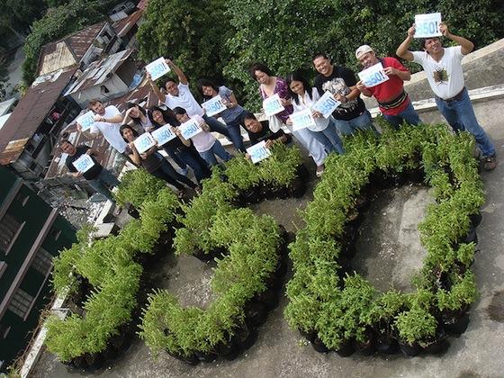Acción de 350.org en Tailandia. Foto.