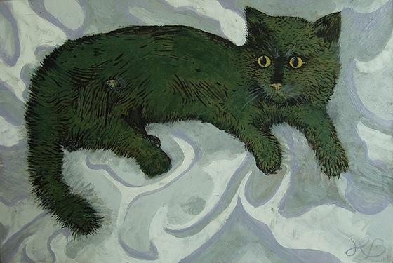Pintura de gatito verde. Imagen.