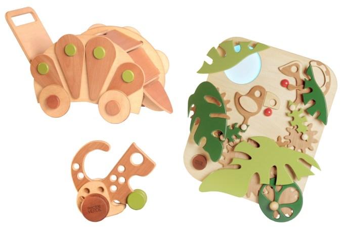 Tractor Verde: Juguetes de madera con motivos selváticos. Foto