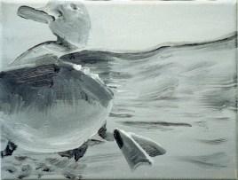 Ente-sw 1 / Öl auf Leinwand / 18 x 24 cm / 2002