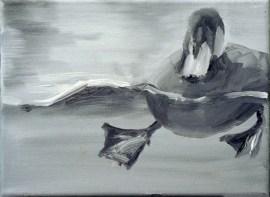 Ente-sw 10 / Öl auf Leinwand / 18 x 24 cm / 2002