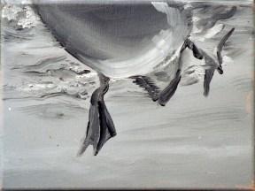 Ente-sw 2 / Öl auf Leinwand / 18 x24 cm / 2002