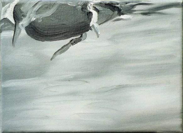 Ente-sw 4 / Öl auf Leinwand / 18 x 24 cm / 2002