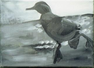 Ente-sw 5 / Öl auf Leinwand / 18 x 24 cm / 2002