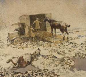 Edwin Noble - An Injured horse being loaded into a motor ambulance, watercolour and charcoal on paper, 759 x 835mm, IWM