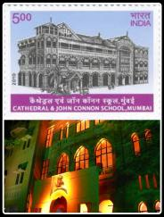 The Indian government honoured the Cathedral & John Connon School, Mumbai, by releasing a postal stamp that has the old school building printed on it. (Photo edited by Aditya Chichkar)