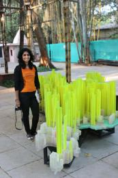 As tall as it can get! Self portrait along with an artistic sculpture in the BDL Museum premise, depicting modern Mumbai city map with florescent plastic strips symbolizing skyscrapers.  Photo courtesy: Aditya Chichkar.