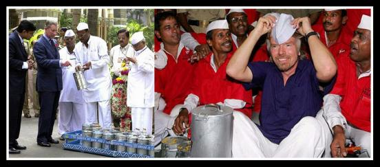 Prince Charles & Richard Branson sharing time and space with the Dabbawalas. Photo edited by Aditya Chichkar.