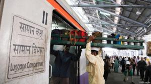 Tiffin crates being loaded in luggage compartments of Mumbai trains. Photo courtesy: Satyaki Ghosh.