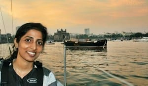 Shraddha sailing at sunset