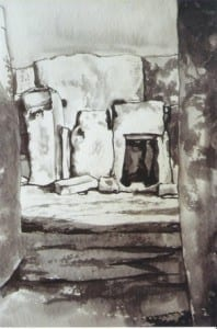 Hagar Qim ink and wash 1