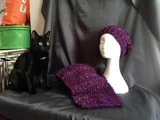 My Knitting - Purple Hat & Scarf Set