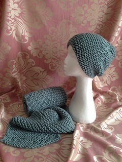My knitting - Duck Egg Blue Hat & Scarf Set