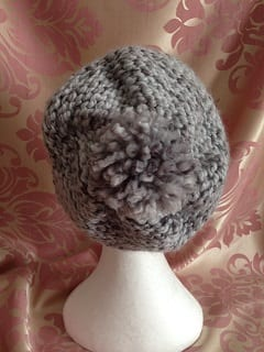 My knitting - Grey Bobble Hat