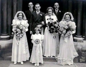 Pat front centre at her sisters wedding 1939