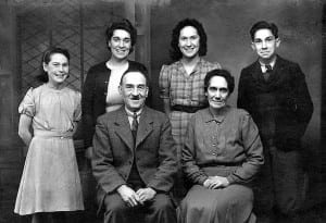 Pat on the left with her family 1945