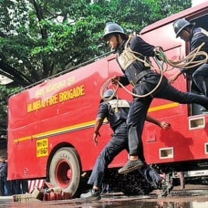 The real heroes- Mumbai Fire Brigade firemen in action.