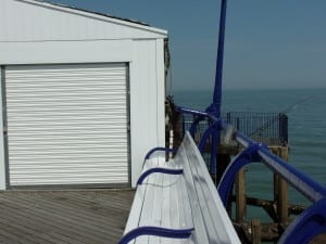 Until 2002 Eastbourne pier had a speed boat, which was stored in this hut, not used for fishermen's tackle