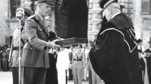The official GC presentation by the British Governor General in 1942.