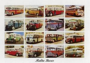 A commemorative postcard of Malta's former colourful buses.