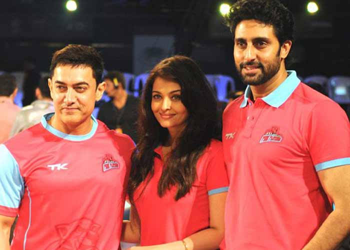 Bollywood glamour to Kabaddi. Left to Right: Popular Bollywood Super Stars Aamir Khan, Aishwarya Rai-Bacchan and Abhishek Bacchan (Owner