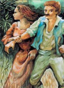 Painting of the Bride of Mosta - lover Toni Bajada and Marianne