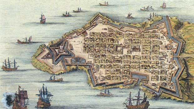 A Dutch map of Valletta probably drawn in 1730.
