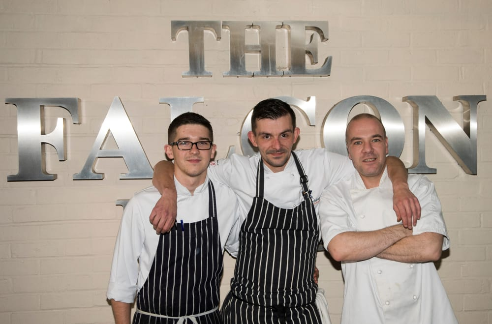 Chef, Phil Bailey with (L) Brad French (R) Mouloud (Zin) Meplad - The Falcon Hotel, Stratford-upon-Avon, 2015.