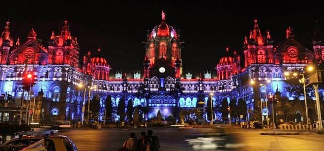 We stand by you!': Mumbai's Shivaji Chhatrapati Terminus railway station lit with the colours of the French flag.