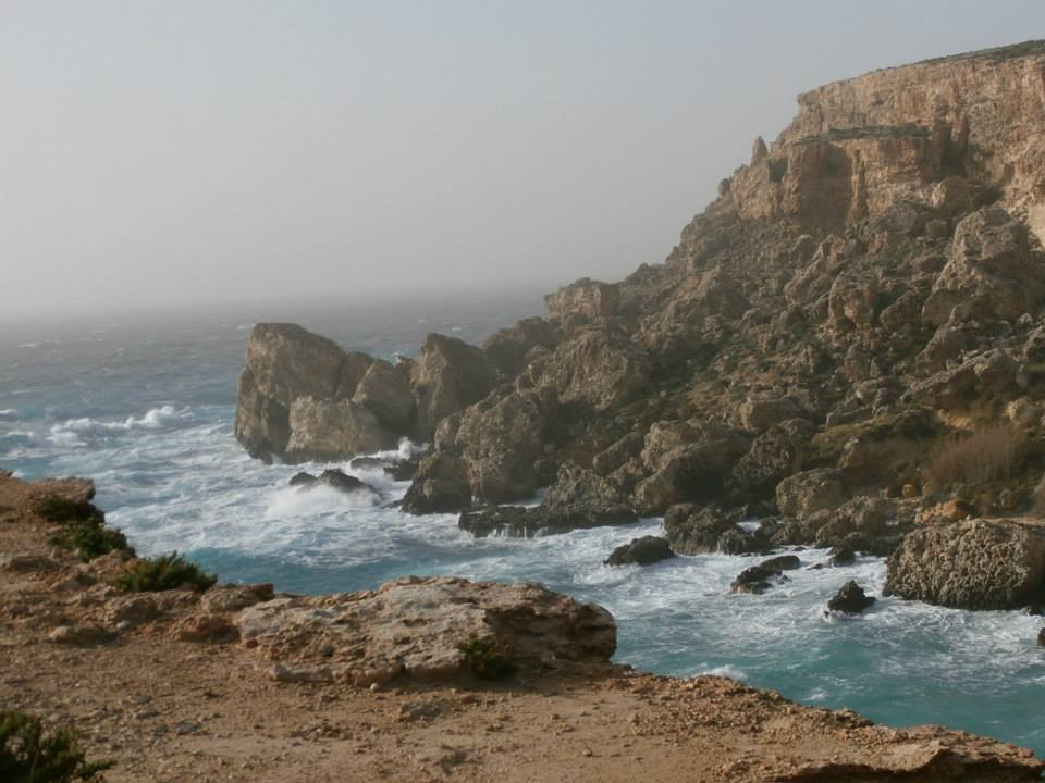 A stormy day at Paradise Bay in the north of Malta.