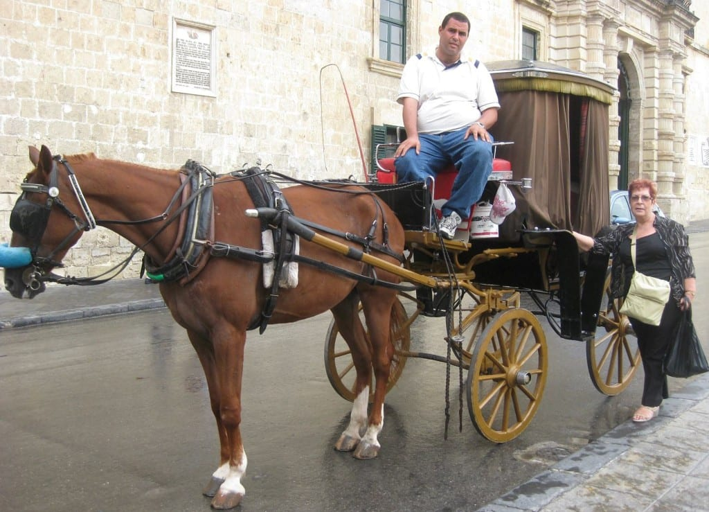 A traditional 'karozzin' ride in front of The Palace, Valletta.