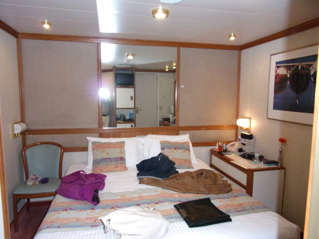 Oriana inside cabin. Note the comfy double bed.