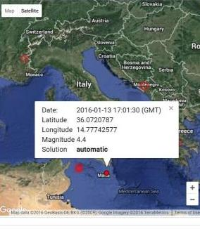 Earthquake tremors felt in Malta on Wednesday, 13th January 2016 at 18.01 (CET).