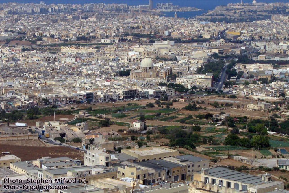 An aerial view of the 'village' of Qormi, now Malta's most populated town.