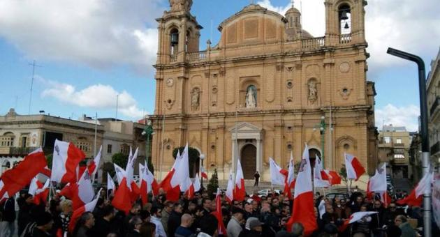 Maltese patriots assemble to stage a counter-rally.
