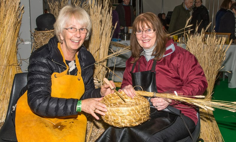 Warwickshire Beekeepers stand, making a skep, Val Dillon, Ann Evans,