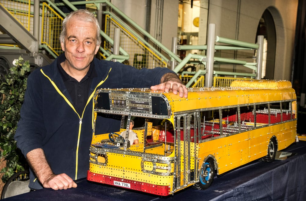 Dave Bradley with his scaled bus. Photo Rob Tysall