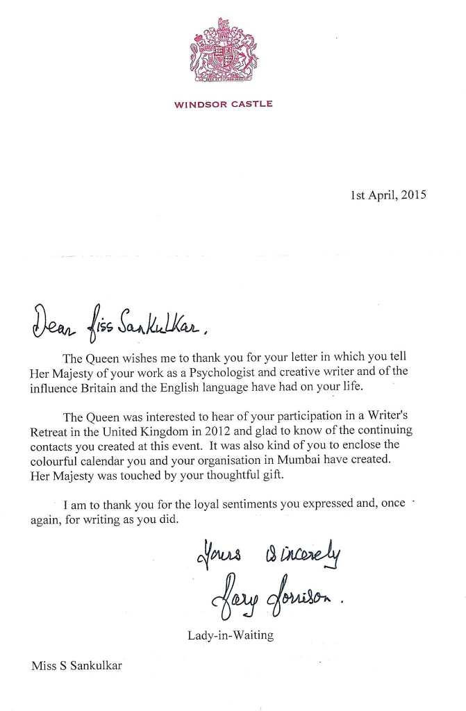 Mind Matterz receiving a letter from Queen of Great Britain- Her Highness Queen Elizabeth II