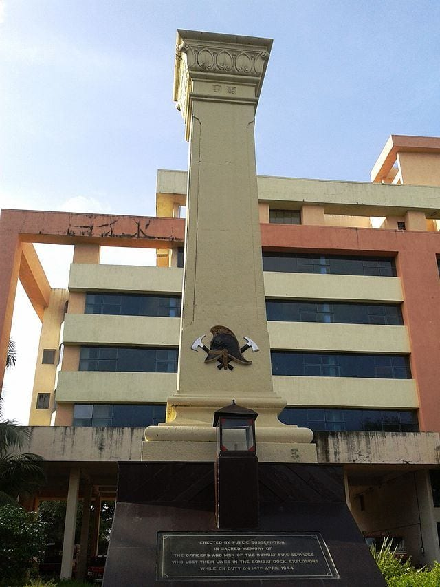 Memorial pillar in memory of the 66 firemen who lost their lives in the Bombay Explosions of 1944.
