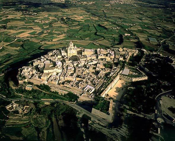 The walled city of Mdina from the air.