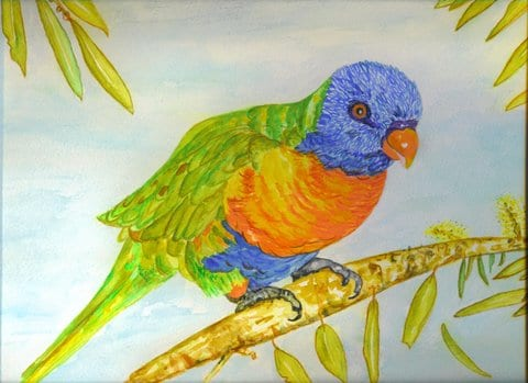 watercolour painting by Patricia Newell - Dunkley of Lorikeet