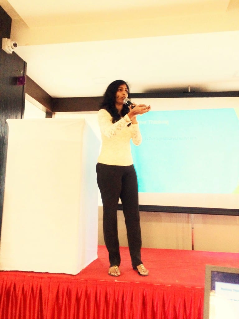 Giving a small talk on 'Positive Thinking' at the Veeheal event