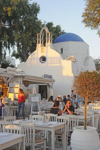 dining in the steets of Mykonos