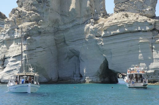 Seaside cliffs and caves in Milos