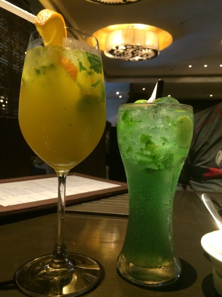 Sipping cool mocktails- Mandarin Swril & Mint Strom.