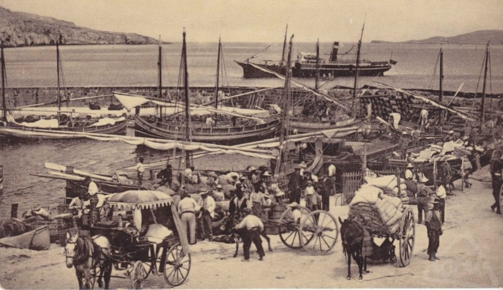 An early photo of Mgarr Harbour in Gozo - hustle and bustle.