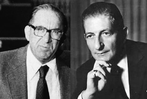 The two major protagonists, Dom Mintoff (left) and Giorgio Borg Olivier.