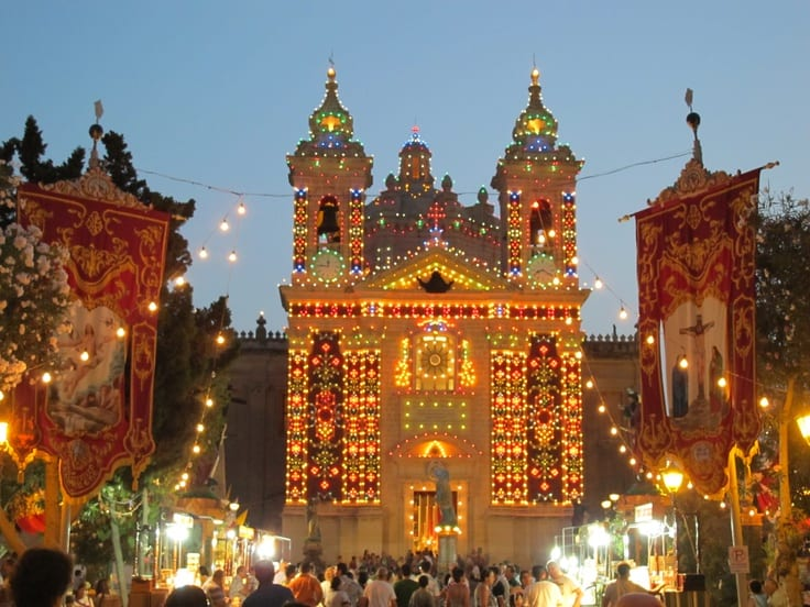 The Parish of Our Saviour in Lija bedecked with lights.