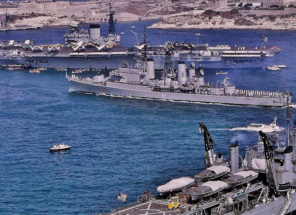 It's now 1967. Malta is independent but its Grand Harbour is packed with British and NATO warships.