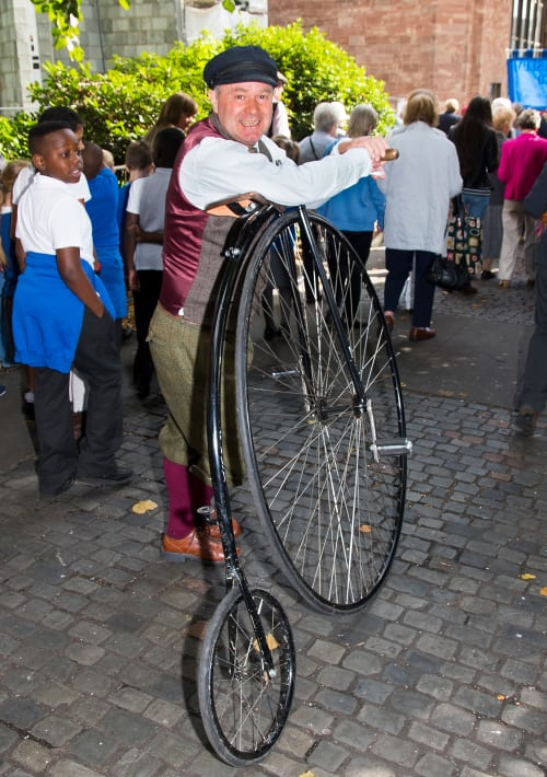 Penny Farthing bike & rider, Coventry,